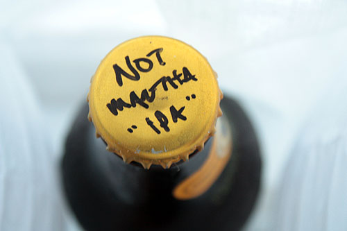 [handwritten beer cap saying Not Martha IPA]