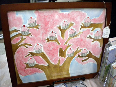 cupcake tree painting by Cakespy
