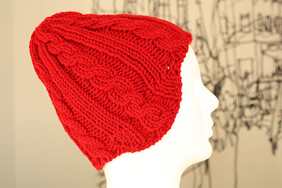 chunky red hat with short row earflaps