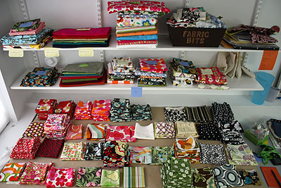 fabric laid out on my cutting table