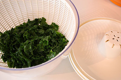 kale in the salad spinner