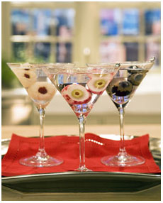 eyeball cocktail garnishes from Martha Stewart
