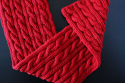big red reversible cable scarf