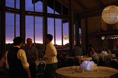 Salt Fork Lodge reception room, with the last of the sunset