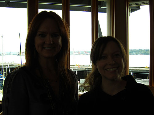 [a drastically backlit Ree Drummond and myself]