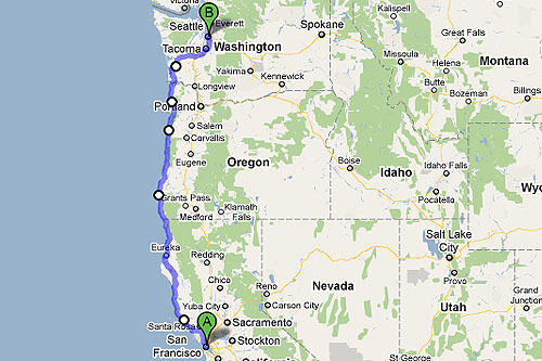Seattle To San Francisco Road Trip Map Michigan Map