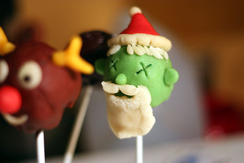 Zombie Santa in cake pop form