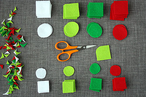 felt circles being cut out
