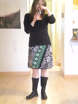 me wearing the Erin MacLeod wrap skirt and my Teva boots