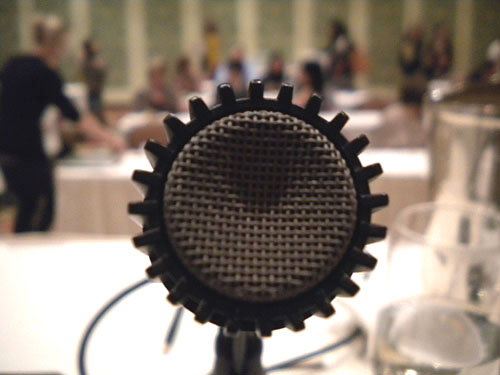the microphone from the speakers table