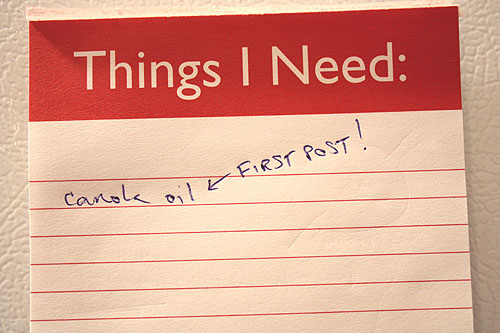 a grocery list with one item, and a note that says First Post!
