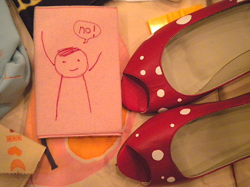 red shoes with polka dots