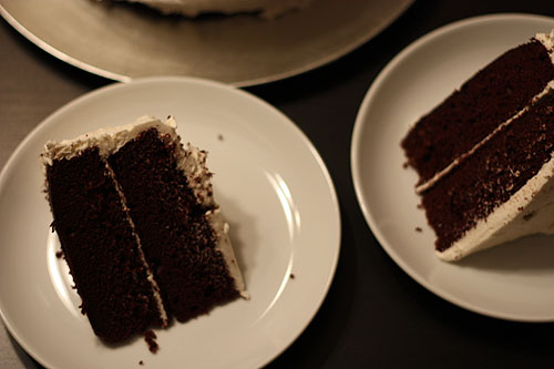 chocolate cake with white icing