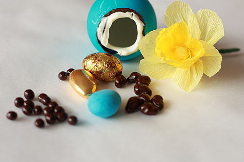crepe paper flower and various chocolates
