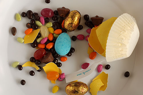 cracked egg, with candies spilling out