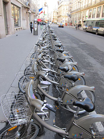 Velib bicycles, all lined up and ready to rent