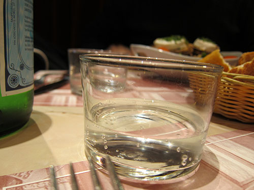 small water glasses on our lunch table