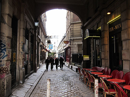 a Paris alley, a Tex Mex restaurant