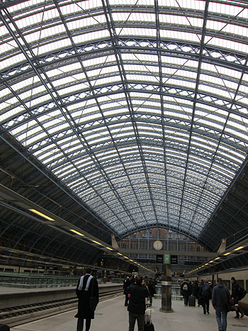 the ceiling of St Pancras station in London