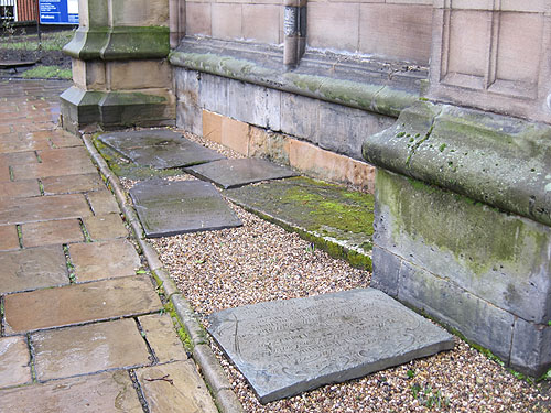 old tombstones used as paving stones