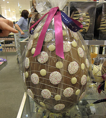 a tow food long chocolate egg