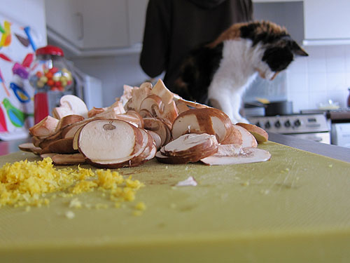 close up of mushrooms and lemon zest, with a cat in the background