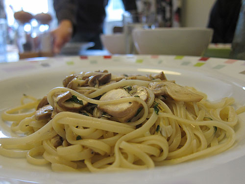 pasta on a plate, still steaming