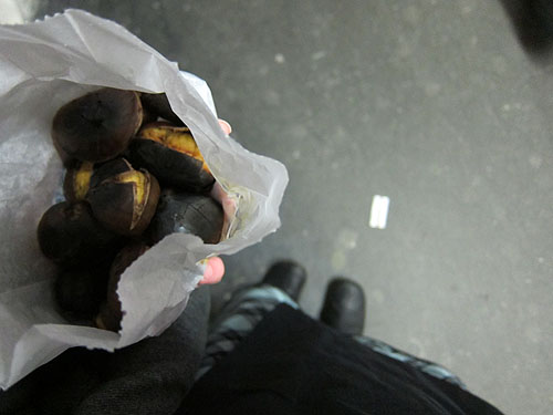 a bag of roasted chestnuts