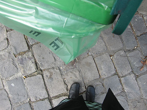 one of the ubiquitous green trash bags in Paris