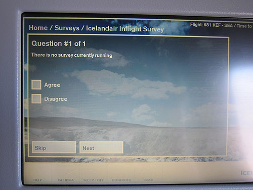Airline survey saying that no survey was currently running. Agree? Disagree?