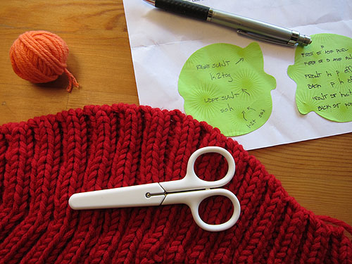 small white scissors sitting on my knit hat