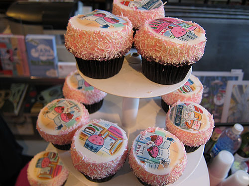 [Cakespy Shop cupcakes with printed designs]