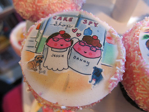 [cupcake with portrait of Jessie and Danny]
