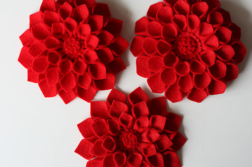 [three red felt dahlias]