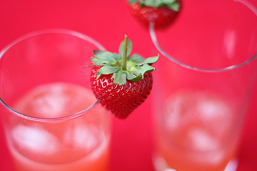 strawberries on the edges of glasses
