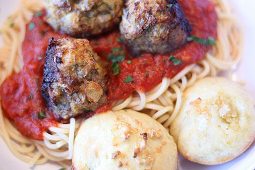 [Meatballs with Ricotta in Tomato Sauce]