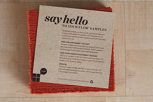 FLOR paper included in samples that reads Say hello to your FLOR samples