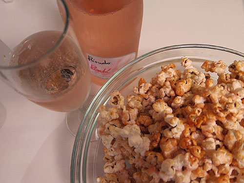 pink popcorn and pink prosecco