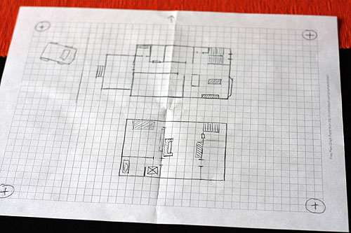 a rough layout of both floors of our house, and our car in the driveway