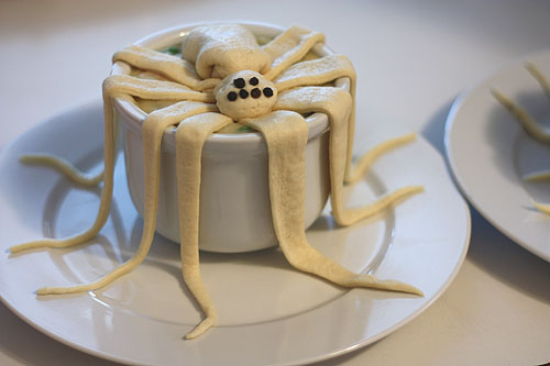 spider pot pie, with uncooked dough
