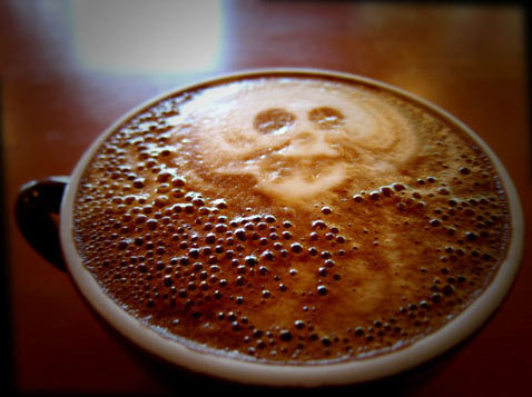 cappuccino with a skull design drawn in it