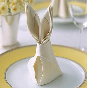 napkins folded in a bunny shape
