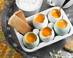 custard served in real egg shells