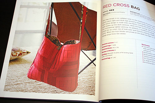 Modern Log Cabin Quilting red cross handbag