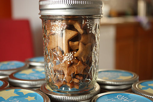 star shaped cookies in a jar