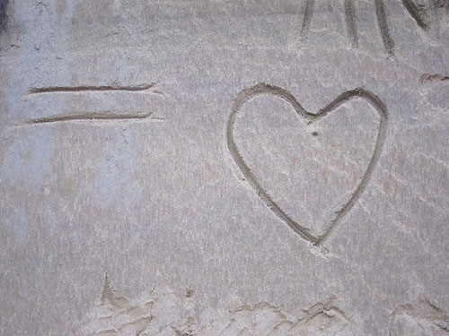 [ a heart in sand, found on a walk along the beach ]