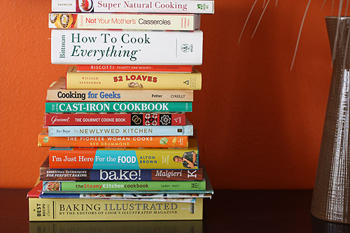 a pile of cookbooks