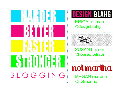 first screen of the Harder Better Faster Stronger Blogging session