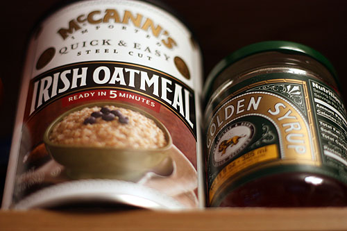 McCanns Irish Oatmeal and Golden Syrup in my cabinets