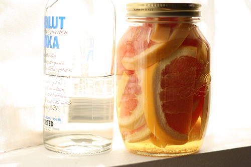grapefruit and one half a bottle of vodka in a too small jar